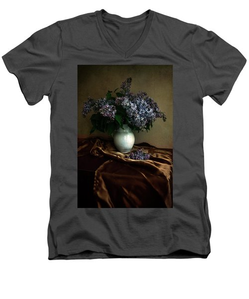 Men's V-Neck T-Shirt featuring the photograph Still Life With Bouqet Of Fresh Lilac by Jaroslaw Blaminsky
