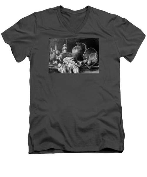 Men's V-Neck T-Shirt featuring the drawing Still Life With Bread by Mikhail Savchenko