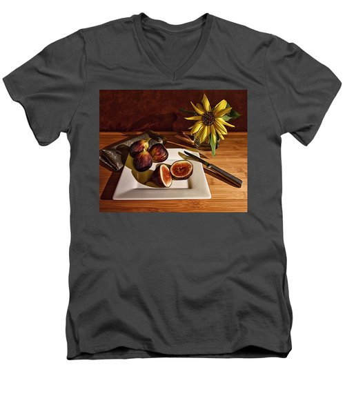 Still Life With Flower And Figs Men's V-Neck T-Shirt