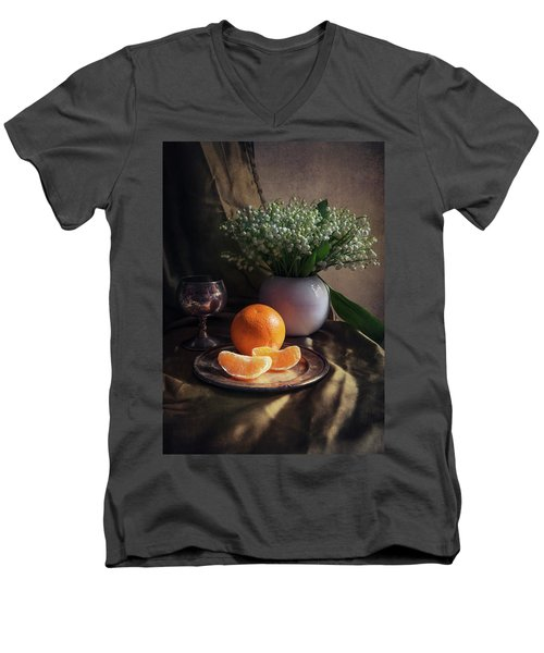 Men's V-Neck T-Shirt featuring the photograph Still Life With Fresh Flowers And Tangerines by Jaroslaw Blaminsky