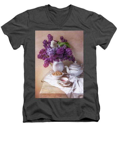 Men's V-Neck T-Shirt featuring the photograph Still Life With Fresh Lilac And China Pots by Jaroslaw Blaminsky