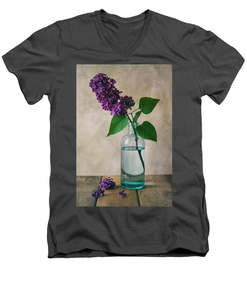 Men's V-Neck T-Shirt featuring the photograph Still Life With Fresh Lilac by Jaroslaw Blaminsky