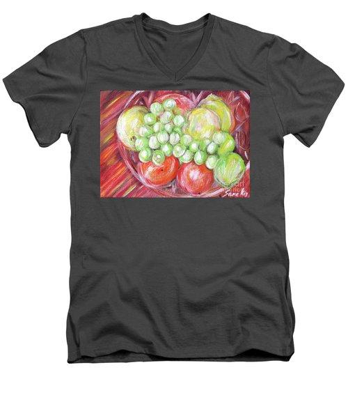 Still Life With Fruits. Harvest Time.painting  Men's V-Neck T-Shirt