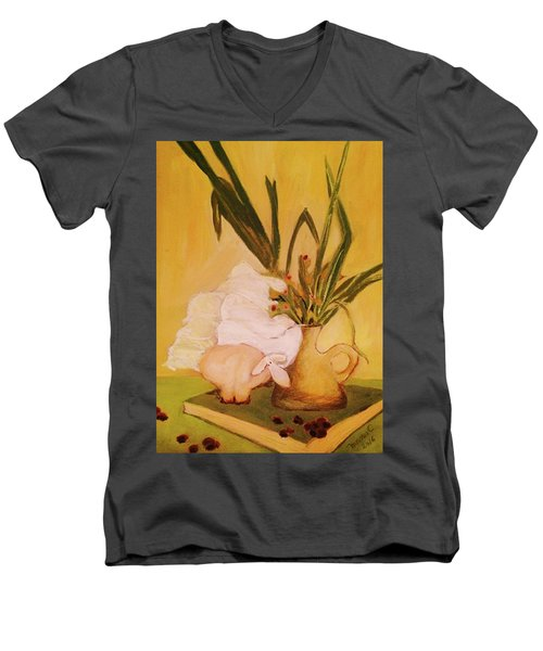 Still Life With Funny Sheep Men's V-Neck T-Shirt