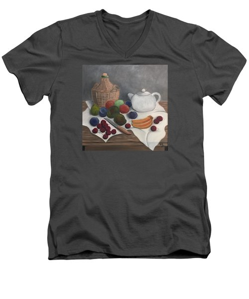 Men's V-Neck T-Shirt featuring the painting Still Life With Jug Wine And Fruits by Victoria Lakes