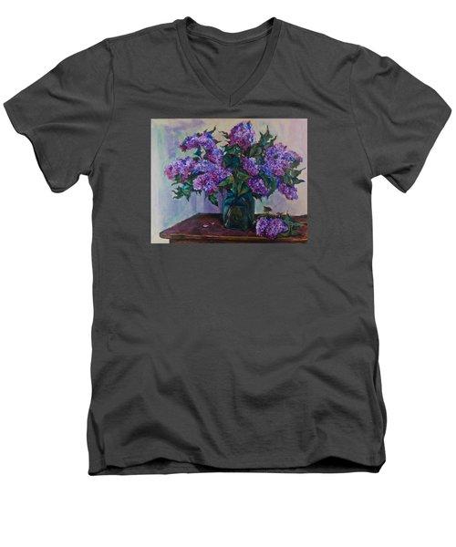 Still Life With Lilac  Men's V-Neck T-Shirt by Maxim Komissarchik