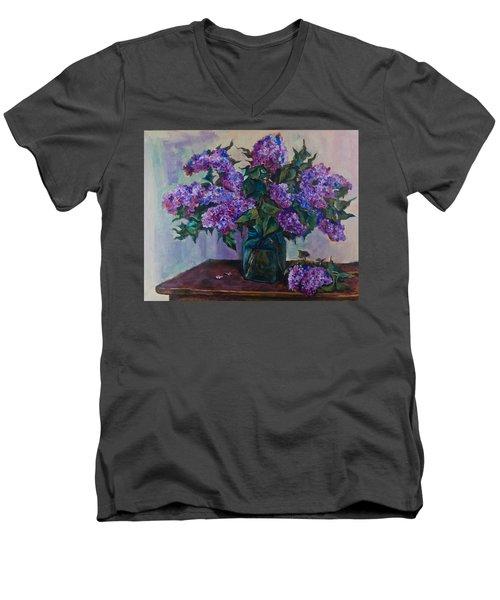 Still Life With Lilac  Men's V-Neck T-Shirt