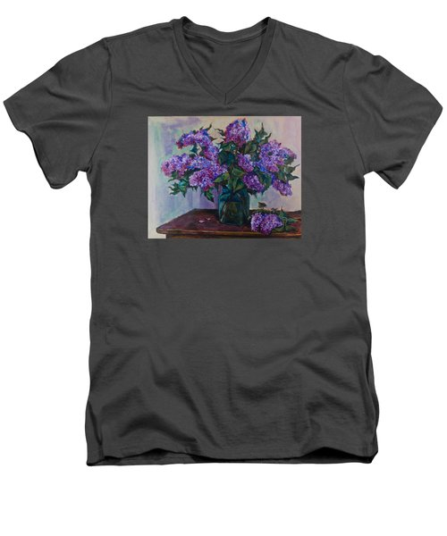 Still Life With Lilac  Men's V-Neck T-Shirt