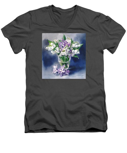 Still Life With Lilacs And Lilies Of The Valley Men's V-Neck T-Shirt by Sergey Lukashin