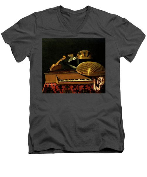 Still Life With Musical Instruments And Books Men's V-Neck T-Shirt