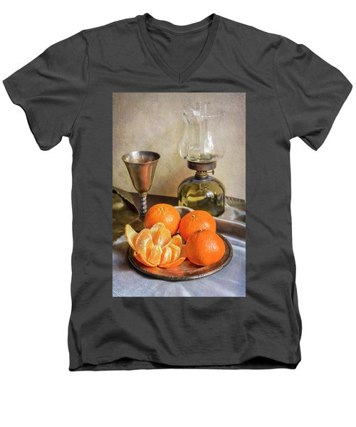 Men's V-Neck T-Shirt featuring the photograph Still Life With Oil Lamp And Fresh Tangerines by Jaroslaw Blaminsky