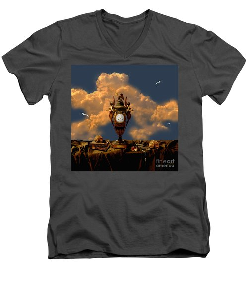 Men's V-Neck T-Shirt featuring the digital art Still Life With Pearls by Alexa Szlavics