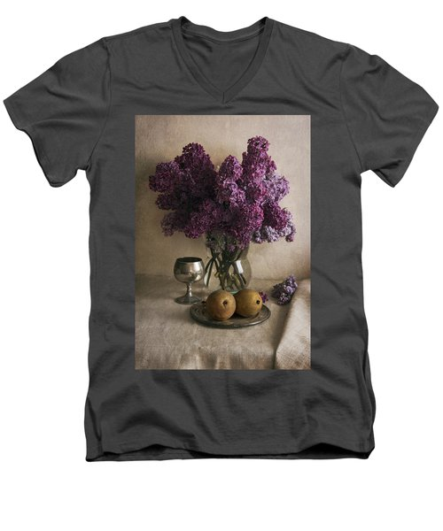 Men's V-Neck T-Shirt featuring the photograph Still Life With Pears And Fresh Lilac by Jaroslaw Blaminsky