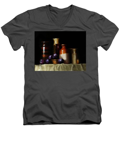 Men's V-Neck T-Shirt featuring the painting Still Life With Plums by Barry Williamson