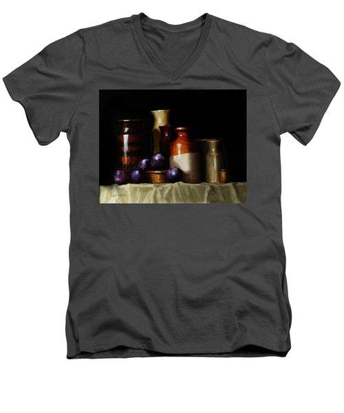 Still Life With Plums Men's V-Neck T-Shirt