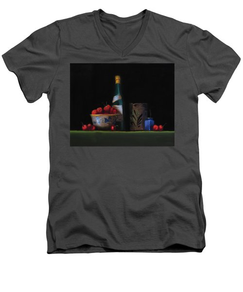 Men's V-Neck T-Shirt featuring the painting Still Life With The Alsace Jug by Barry Williamson