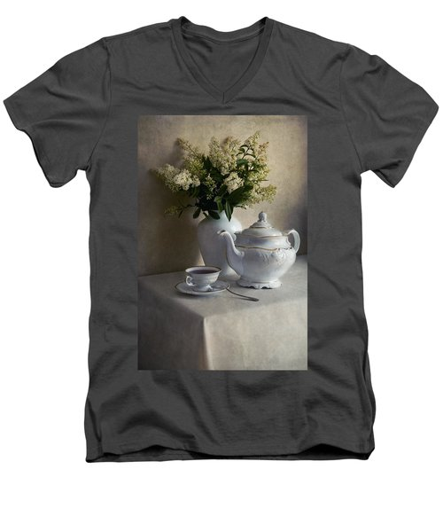 Still Life With White Tea Set And Bouquet Of White Flowers Men's V-Neck T-Shirt by Jaroslaw Blaminsky