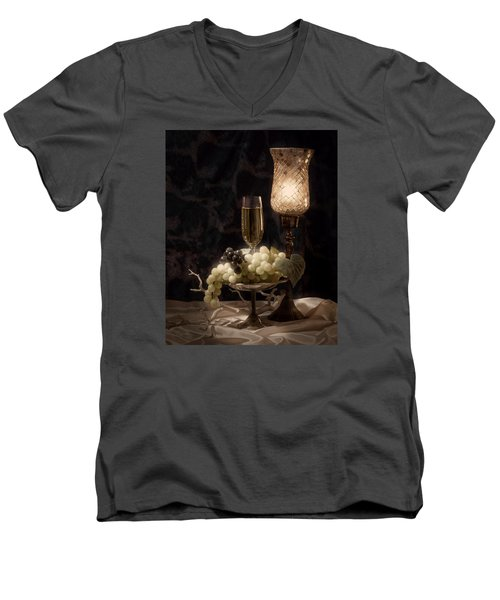 Still Life With Wine And Grapes Men's V-Neck T-Shirt by Tom Mc Nemar