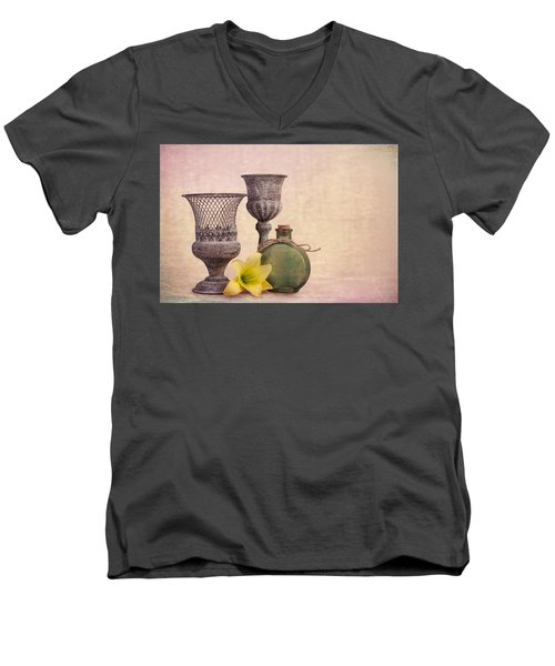 Men's V-Neck T-Shirt featuring the photograph Still Life With Yellow Lily by Tom Mc Nemar