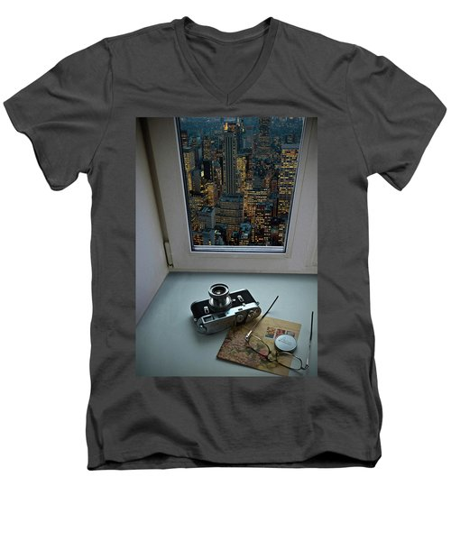 Stilllife With Leica Camera Men's V-Neck T-Shirt