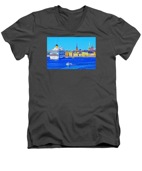 Stockholm Cruise Men's V-Neck T-Shirt by Dennis Cox WorldViews