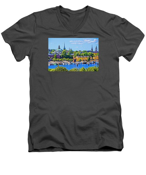 Men's V-Neck T-Shirt featuring the photograph Stockholm Waterfront by Dennis Cox WorldViews