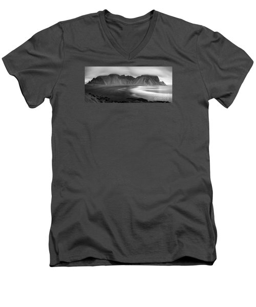 Stokksnes Iceland Bandw Men's V-Neck T-Shirt by Gunnar Orn Arnason