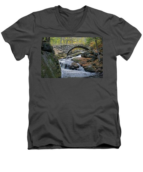 Stone Arch Bridge In Autumn Men's V-Neck T-Shirt