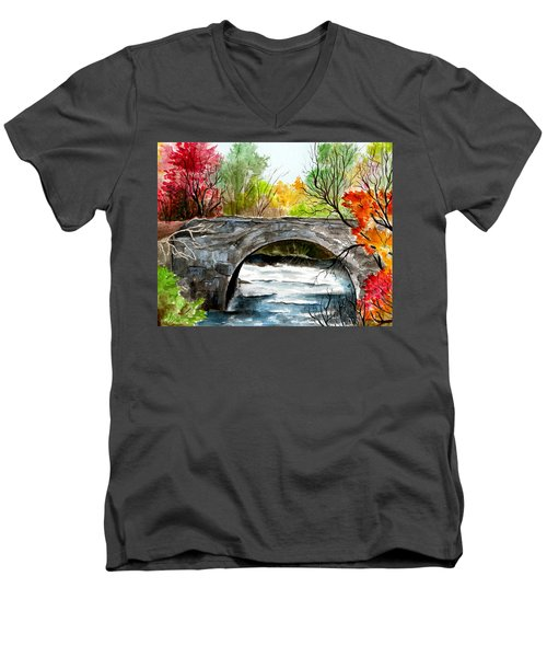 Stone Bridge In Maine  Men's V-Neck T-Shirt