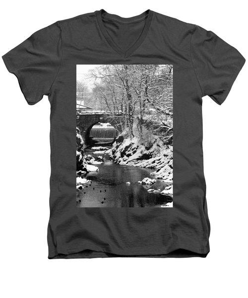 Stone-bridge Men's V-Neck T-Shirt by John Scates