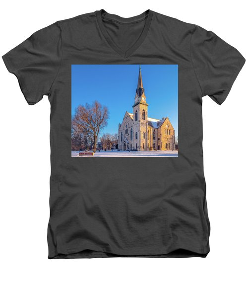 Stone Chapel In Winter Men's V-Neck T-Shirt