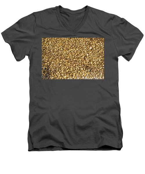 Men's V-Neck T-Shirt featuring the photograph Stone Chip On A Wall by John Williams