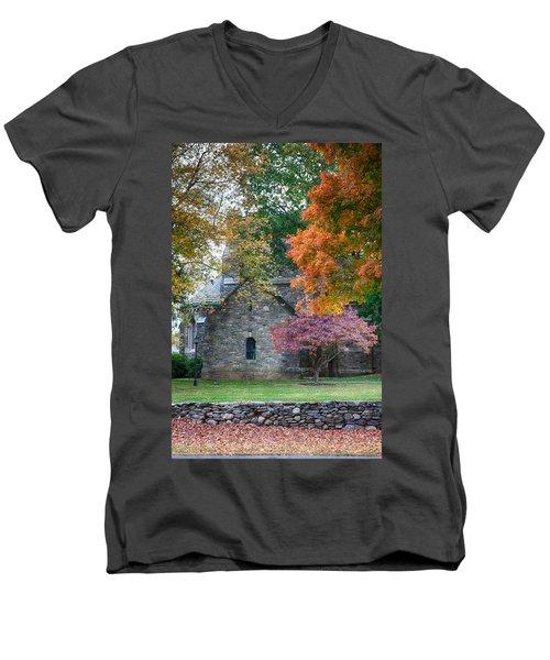 Stone Church In Pomfret Ct In Autumn Men's V-Neck T-Shirt