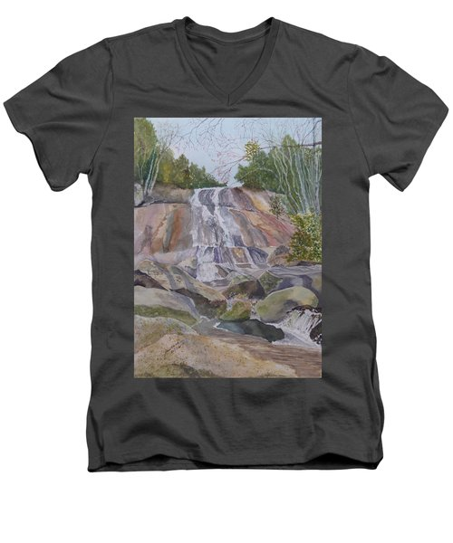 Men's V-Neck T-Shirt featuring the painting Stone Mountain Falls April 2013 by Joel Deutsch