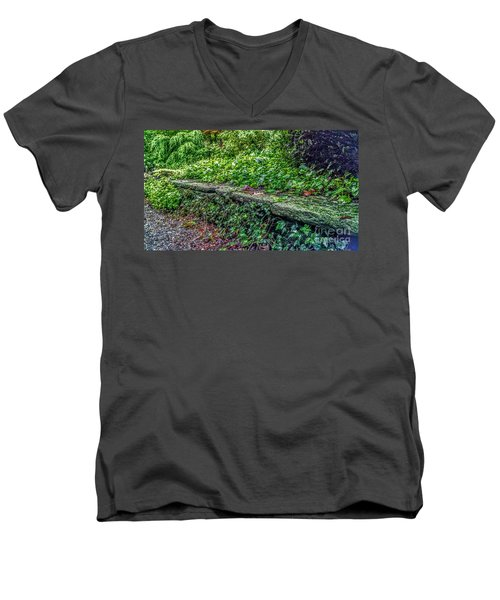 Stone Wall At Laurelwood Men's V-Neck T-Shirt