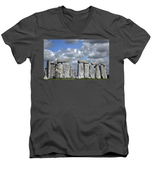 Men's V-Neck T-Shirt featuring the photograph Stonehenge by Elvira Butler