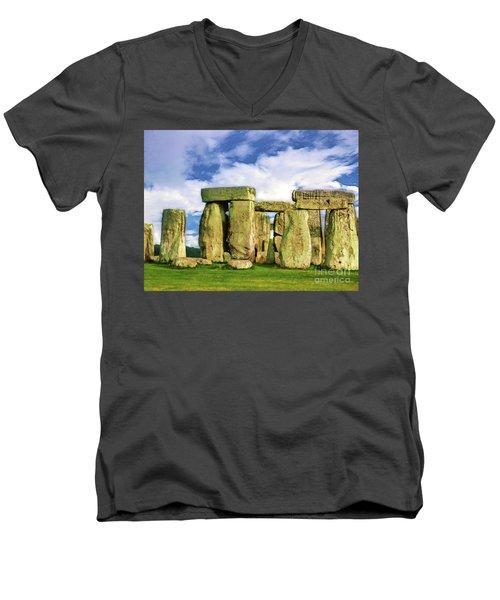 Stonehenge Men's V-Neck T-Shirt by Judi Bagwell