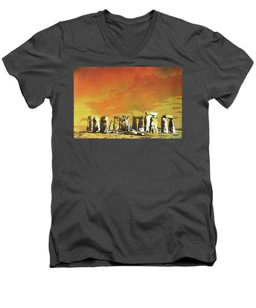 Stonehenge Ruins Men's V-Neck T-Shirt by Ryan Fox