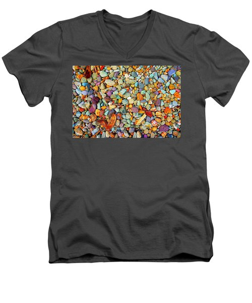 Men's V-Neck T-Shirt featuring the photograph Stones And Barks On Beach by Christopher Shellhammer