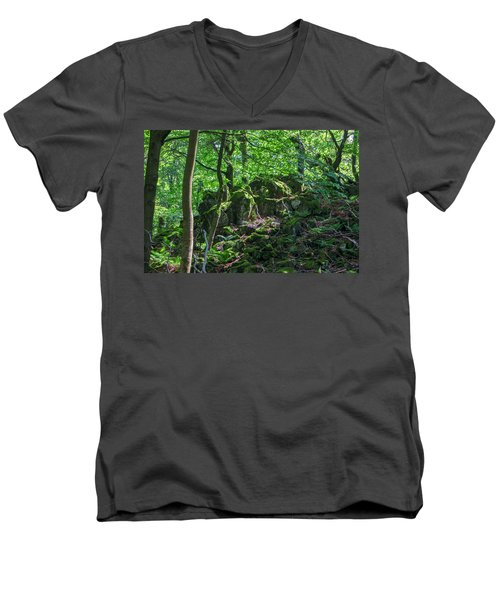 Stones In A Forest In Vogelsberg Men's V-Neck T-Shirt
