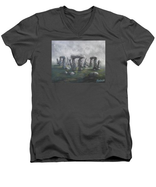 Men's V-Neck T-Shirt featuring the painting Stones Of Time  by Megan Walsh