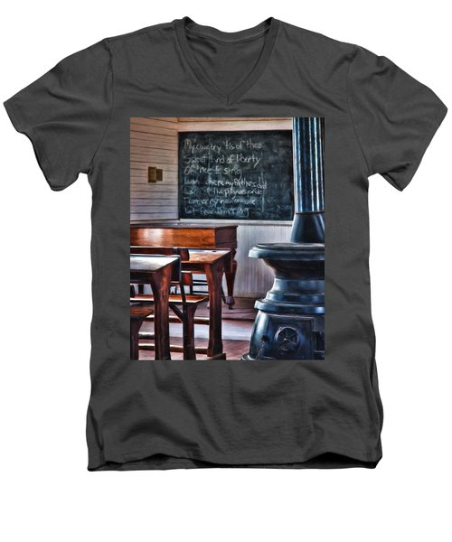 Stoney Point School Room Men's V-Neck T-Shirt by Lana Trussell