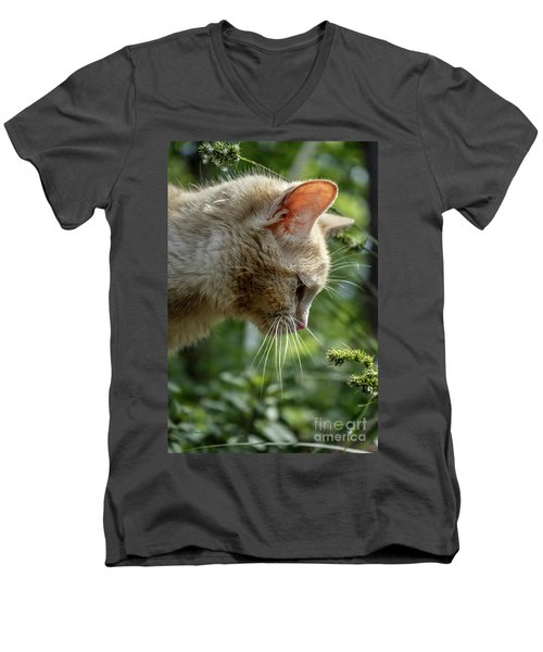 Men's V-Neck T-Shirt featuring the photograph Stop And Smell The Flowers 9433a by Ricardos Creations
