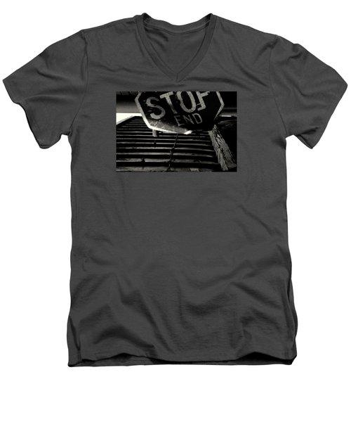 Stop End Men's V-Neck T-Shirt by David Gilbert