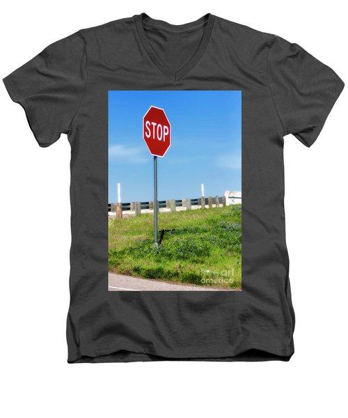 Stop For The Blue Bonnets Men's V-Neck T-Shirt by Joan Bertucci