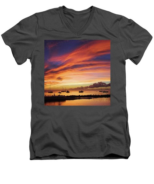 Store Bay, Tobago At Sunset #view Men's V-Neck T-Shirt by John Edwards