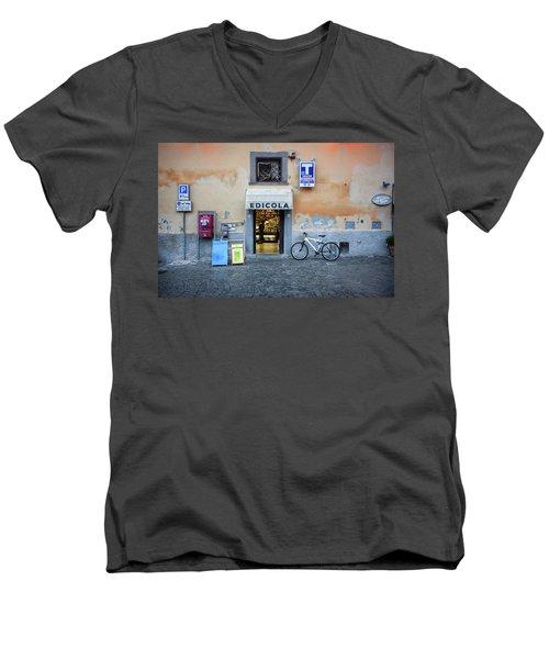 Storefront In Rome Men's V-Neck T-Shirt