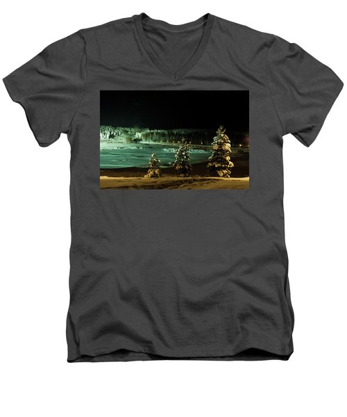 Storforsen In Night Men's V-Neck T-Shirt by Tamara Sushko