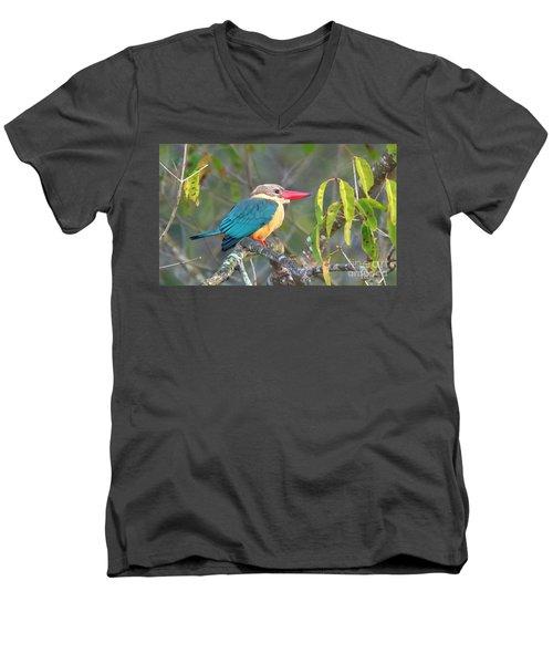 Stork-billed Kingfisher Men's V-Neck T-Shirt by Pravine Chester