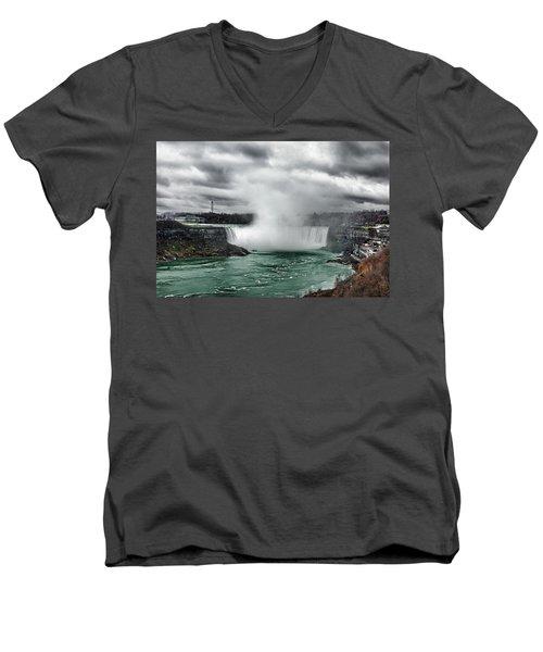 Storm At Niagara Men's V-Neck T-Shirt